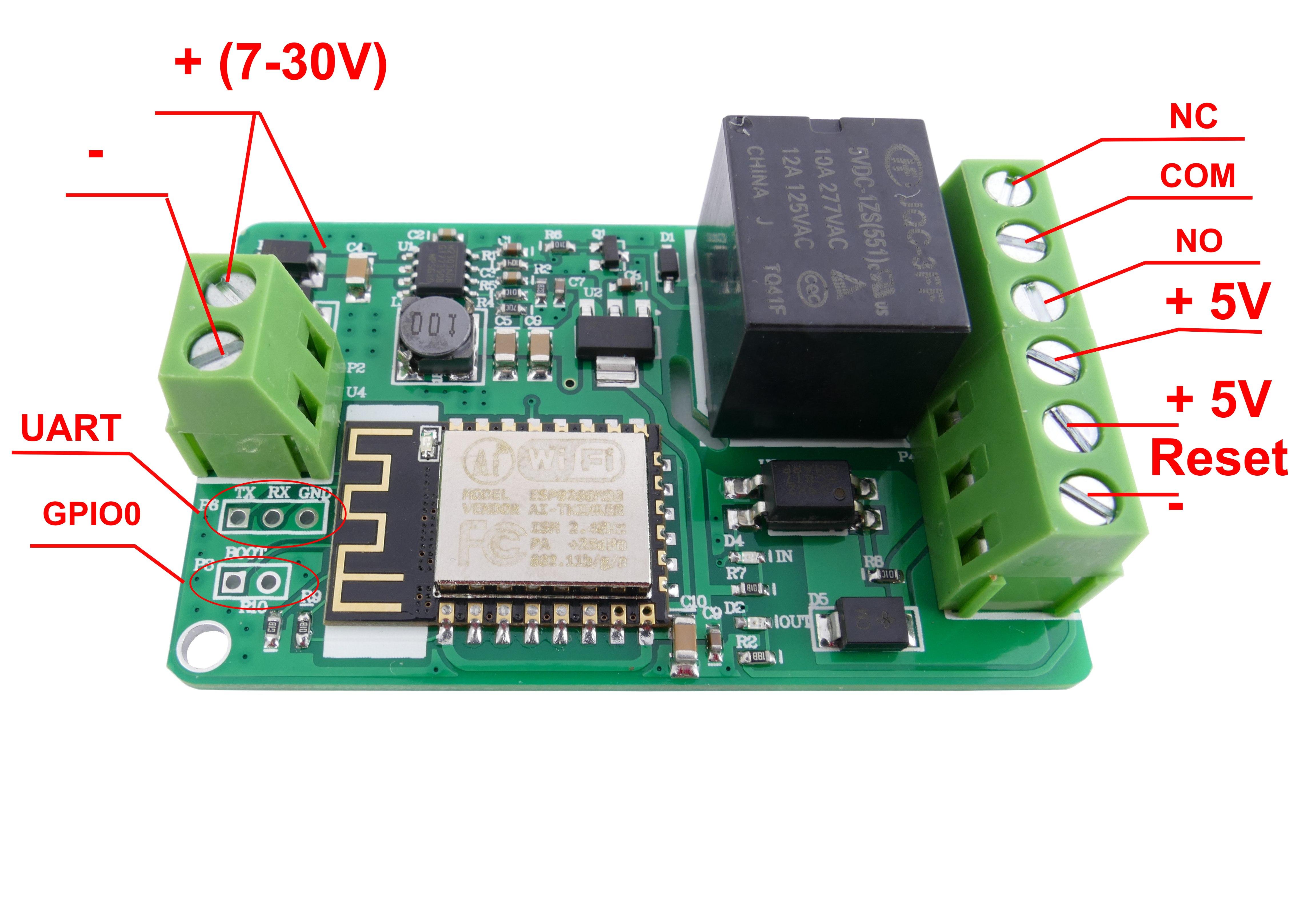 MODUŁ PRZEKAŹNIKA WIFI ESP8266 7-30VDC + SOFT PC